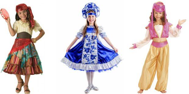 Новогодние костюмы 2019 национальные для девочек