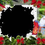 Новогодняя рамка для фотошопа с дед морозом и снегурочкой