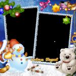 Новогодняя рамка со снеговиком