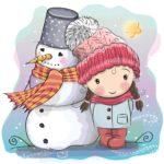 Картинка для декупажа: снеговик и девочка