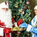 Новогодние обои на рабочий стол - дед мороз и снегурочка