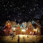 Обои для рабочего стола - новогодний снег, ночь, дом