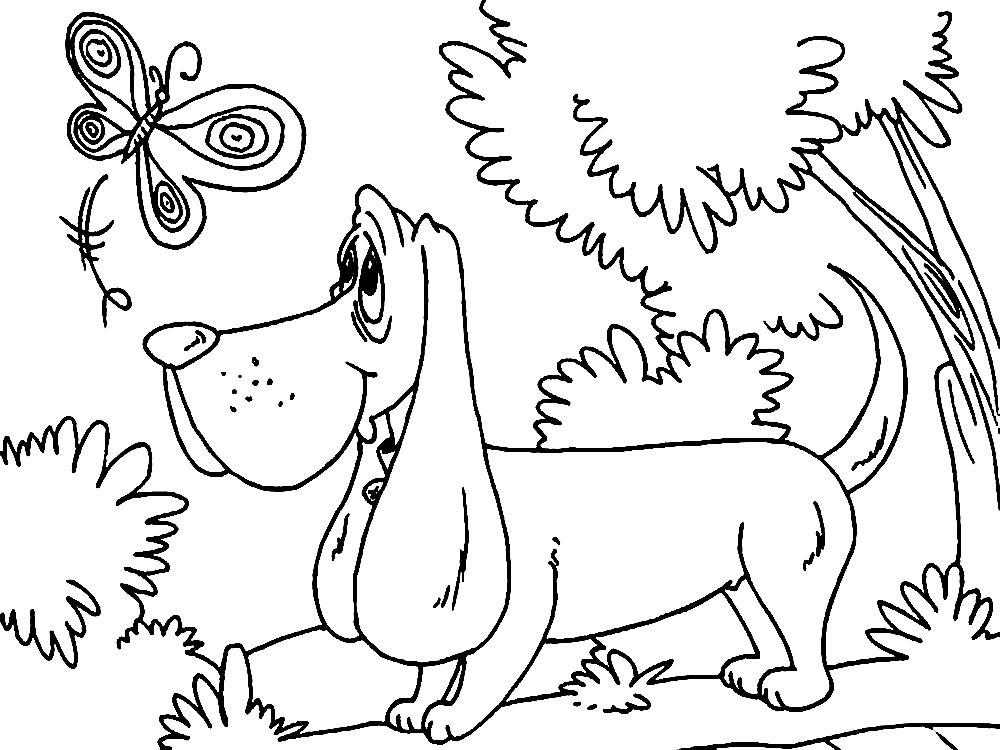 Раскраски с собаками на новый год 2018