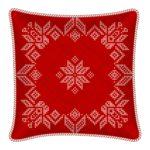 Декоративная новогодняя красная подушка