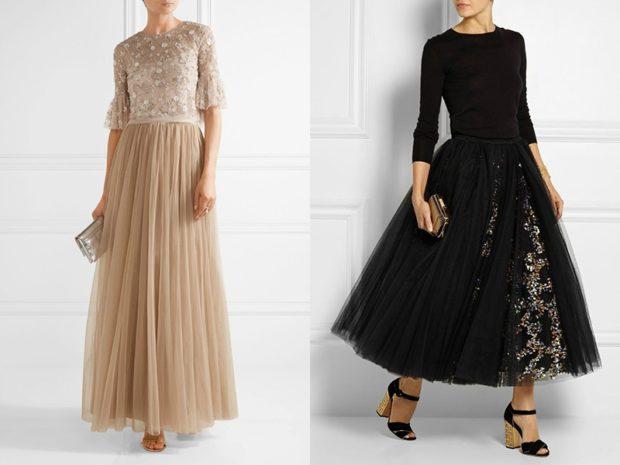 что надеть на новогодний корпоратив 2018: фатиновая юбка бежевая черная длинная