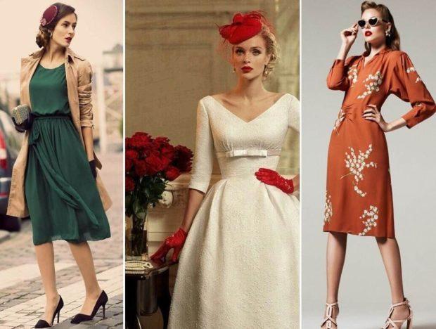 что надеть на новогодний корпоратив 2018: ретро платья зеленое белое красное в цветы
