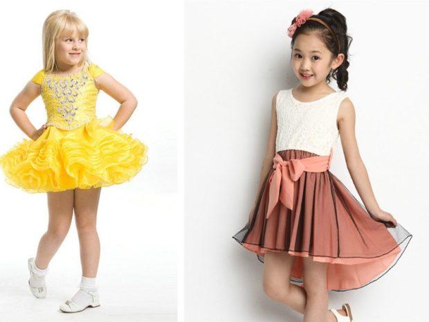 красивые новогодние платья для девочек 2018: кукольные желтое белое с коричневой