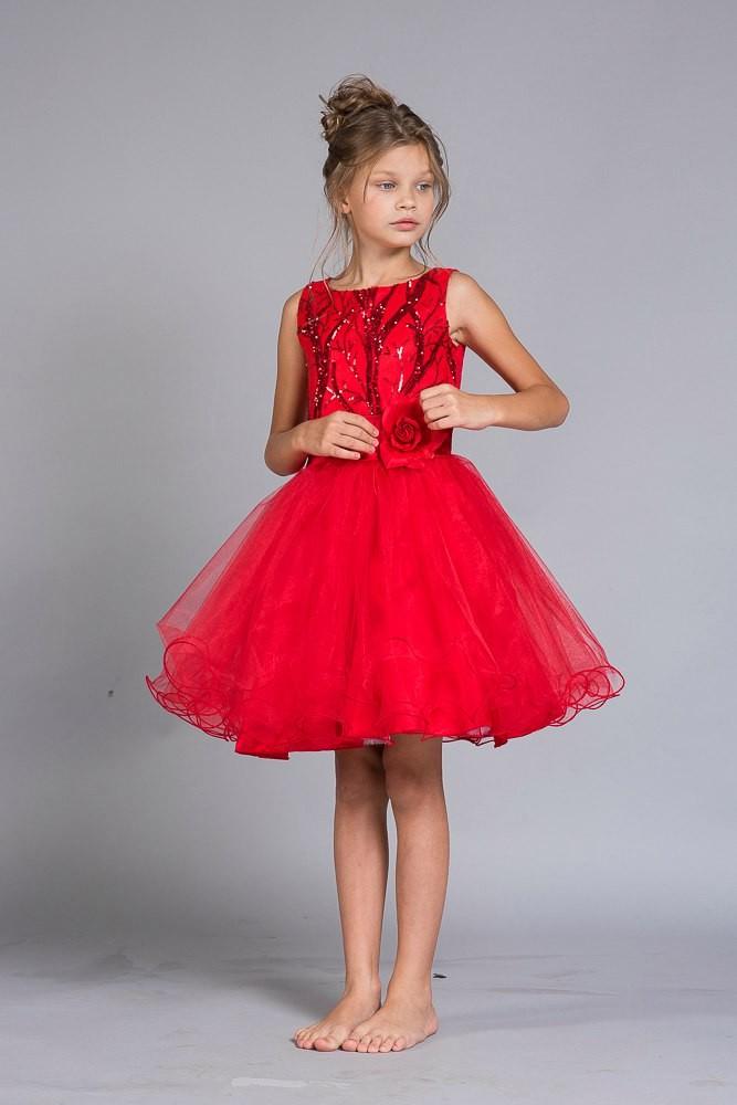красивые новогодние платья для девочек 2018: красное платье пышная юбка
