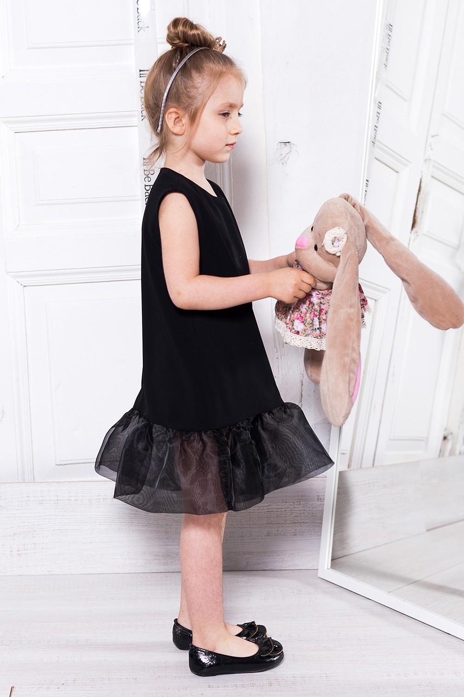 красивые новогодние платья для девочек 2018: платье с воланами черное