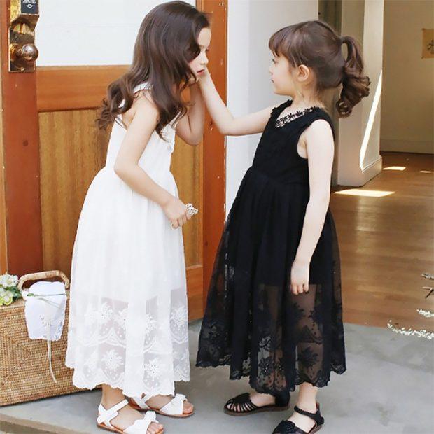 красивые новогодние платья для девочек 2018: сарафан черный белый длинный
