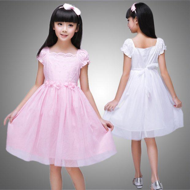 красивые новогодние платья для девочек 2019-2020: сарафан белый розовый с пояском