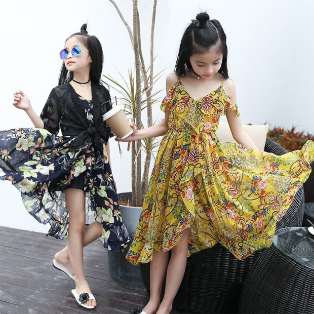 красивые новогодние платья для девочек 2018: сарафан черный желтый тонкие брители