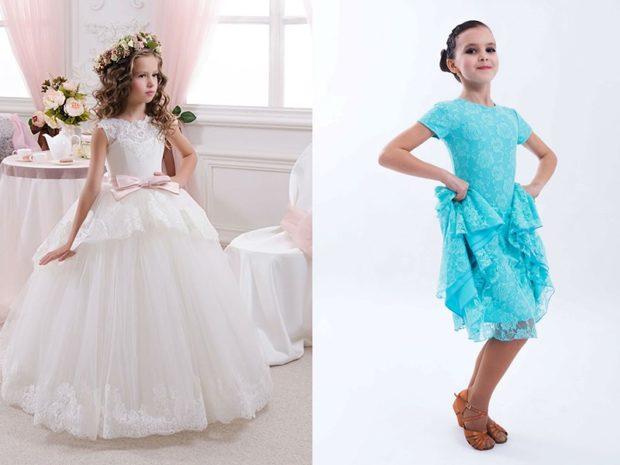 красивые новогодние платья для девочек 2018: платье принцессы белое пышное голубое
