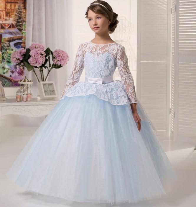 красивые новогодние платья для девочек 2018: платье принцессы белое кружевное