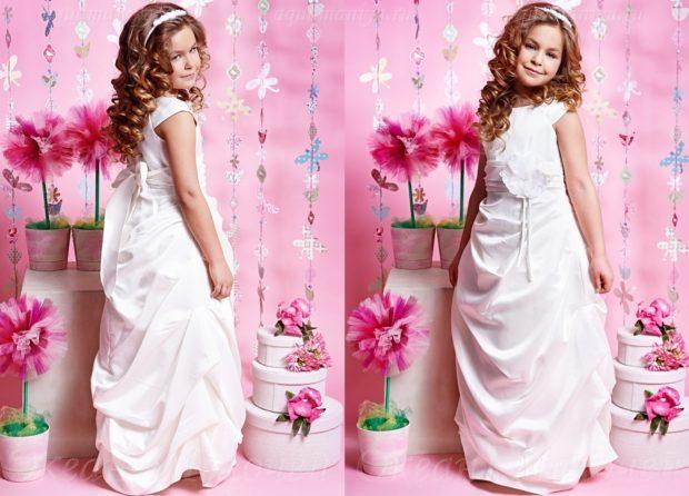 красивые новогодние платья для девочек 2019-2020: белое длинное с пояском