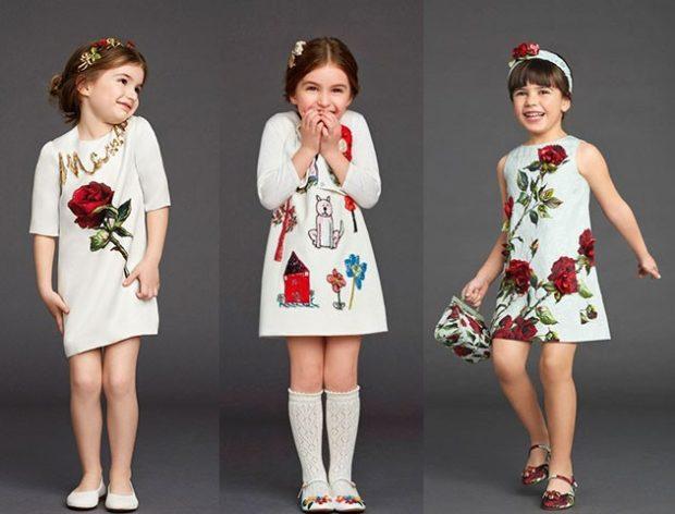 красивые новогодние платья для девочек 2018: платье трапеция белое с розами