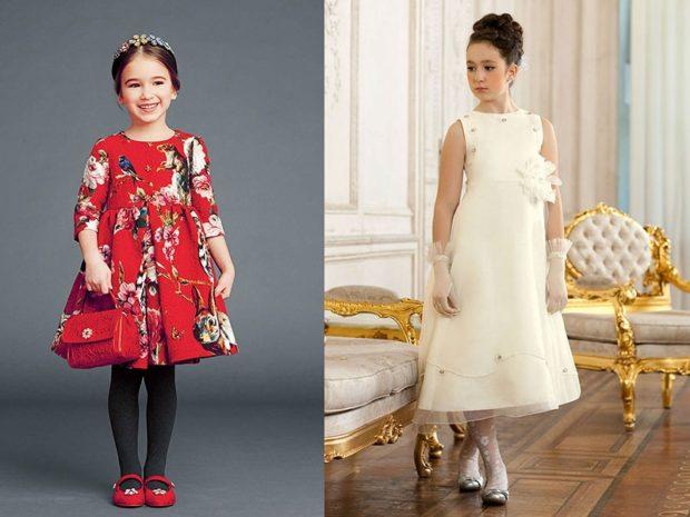 красивые новогодние платья для девочек 2018: платье трапеция красное белое в принт