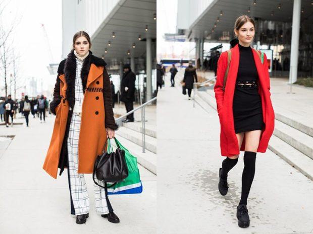 модная осень 2019-2020 пальто коричневое красное