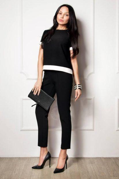 модная осень 2019-2020 костюм брючный короткие штаны кофта