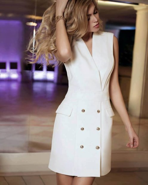 модная осень 2019-2020 платье пиджак белое без плеч короткое