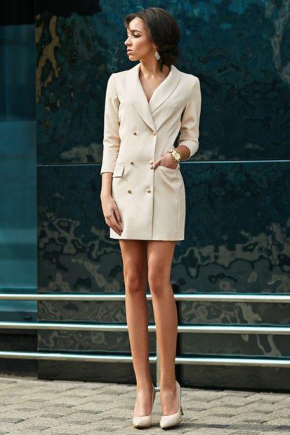 модная осень 2019-2020 платье пиджак белое короткое