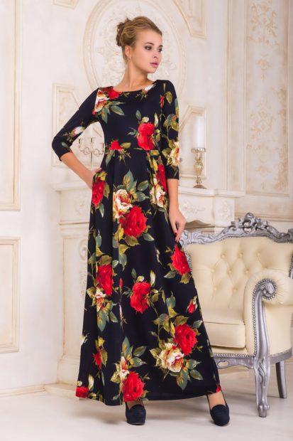модная осень 2019-2020 платье с розами в пол