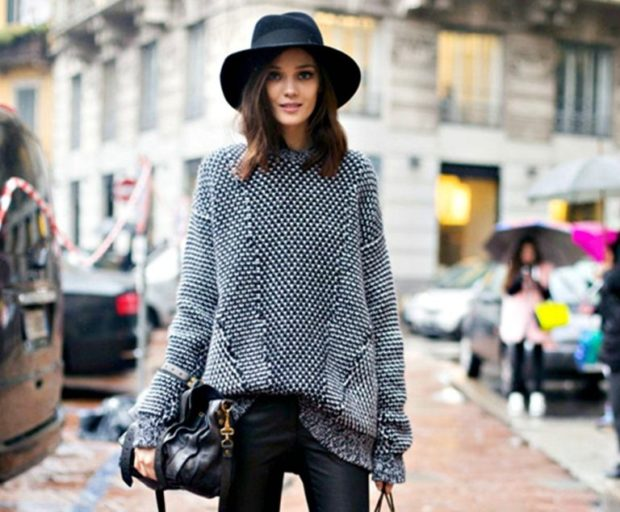 модная осень 2019-2020 свитер оверсайз серый