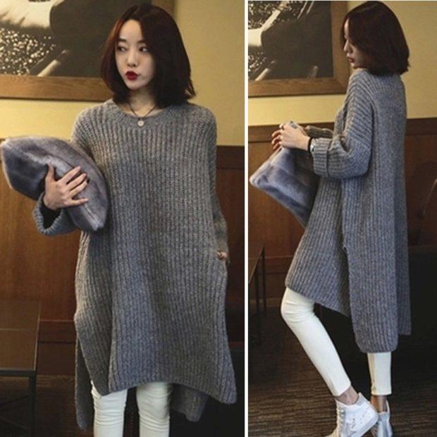 модная осень 2019-2020 серый свитер оверсайз удлиненный