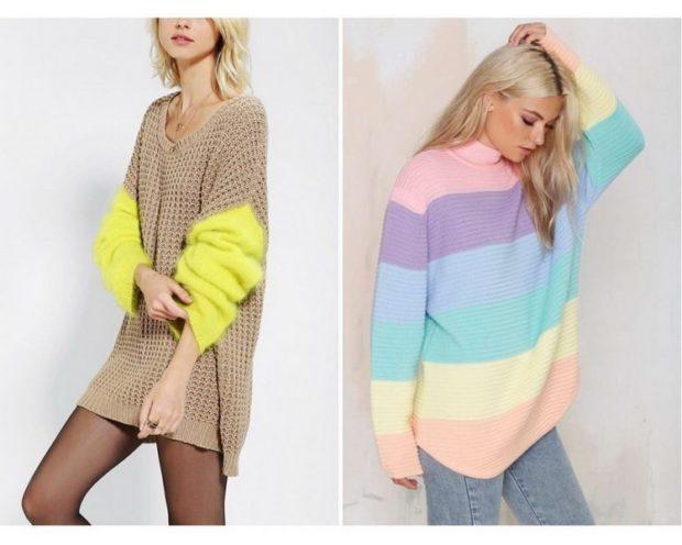 модная осень 2019-2020 свитера объемный с желтыми рукавами цветной свитер