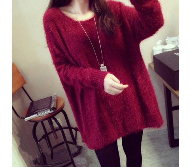 модная осень 2019-2020 свитер широкий красный