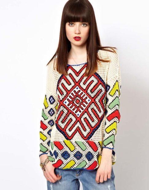 модная осень 2019-2020 свитер в деревенском стиле цветной