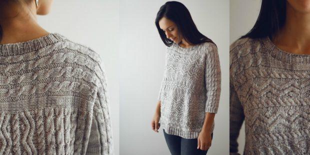 модная осень 2019-2020 серый свитер в деревенском стиле