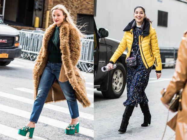 модная осень 2019-2020 шубка коричневая куртка желтая