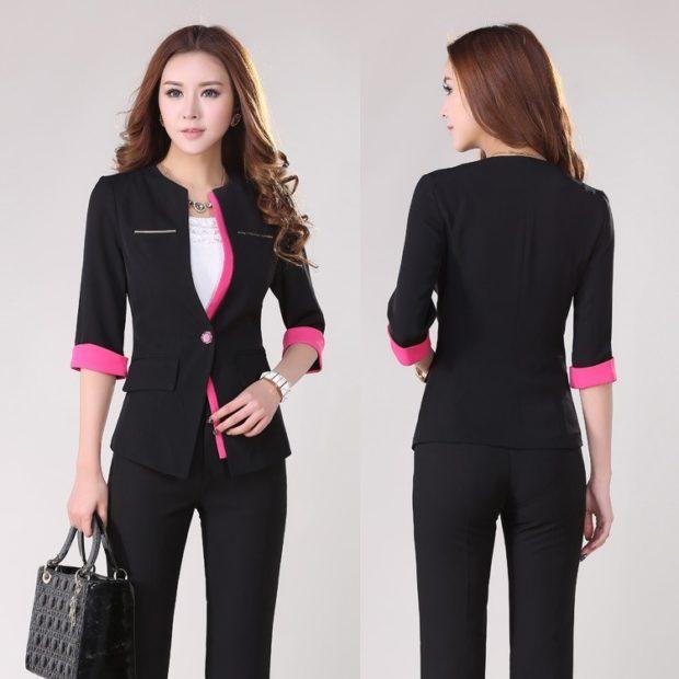 модная осень 2019-2020 костюм брючный с пиджаком черный с розовым