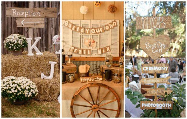 модные свадьбы 2018 в деревенском стиле сено дерево