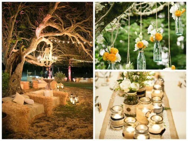 модные свадьбы 2018 в деревенском стиле сено цветы