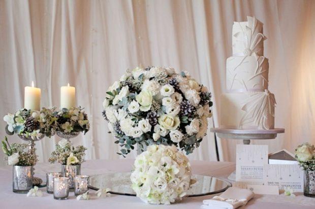 модная свадьба 2018 зимняя свадьба в серых тонах украшение стола