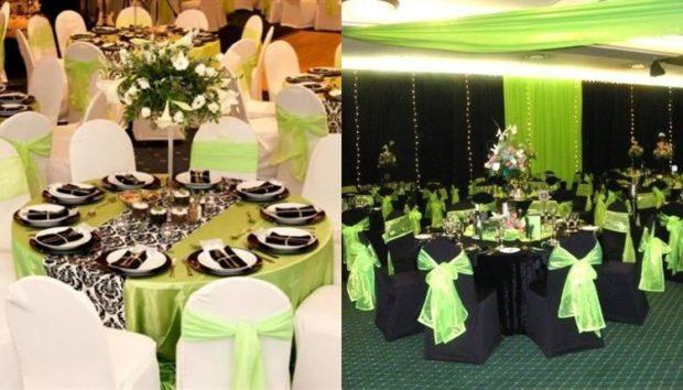 модная свадьба 2018 зеленое оформление банкетного стола