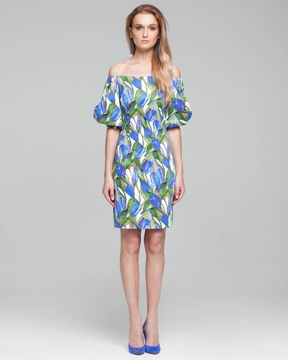 модные луки лето 2018 платье у объемными рукавами открытые плечи