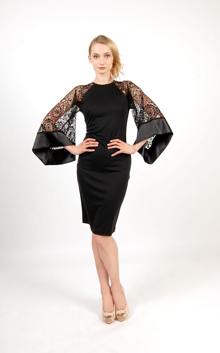 модные луки лето 2018 платье черное рукава объемные гипюровые