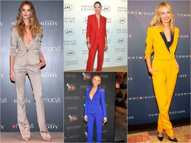 модные луки лето 2018 костюмы брючные серый синий красный желтый