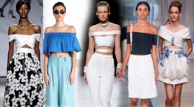 модные луки лето 2018 топы открытые плечи бра