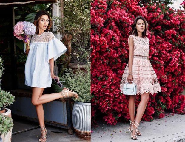 модные луки лето 2018 платье с большими рукавами платье без рукава короткие