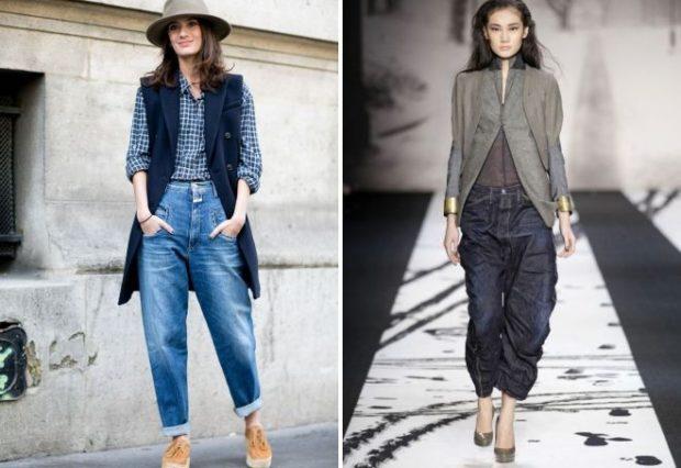 модные луки лето 2018 широки джинсы синие под жилетку под пиджак
