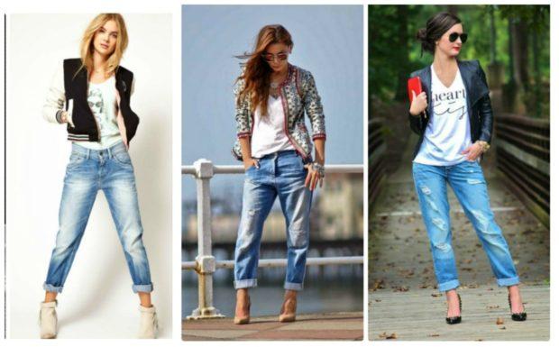 модные луки лето 2018 джинсы короткие под куртку