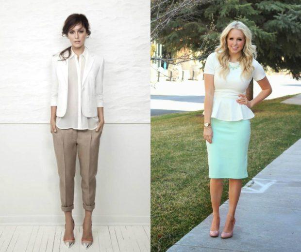 модные летние луки 2018 брюки коротки белый пиджак юбка бирюзовая блуза