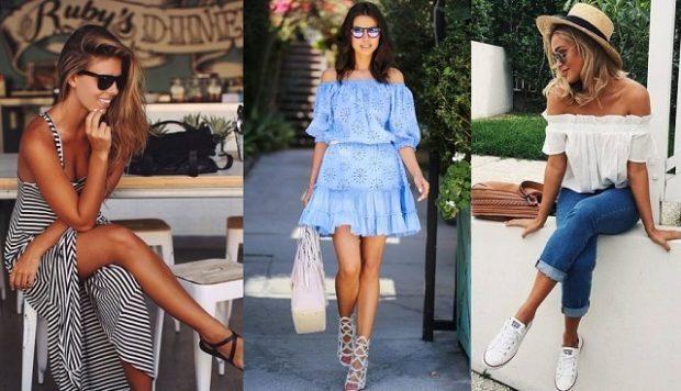 модные летние луки 2018 платье полосатое голубое блуза без плеч