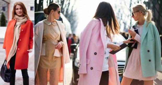 модные луки весна 2019 пальто красное бежевое розовое салатовое