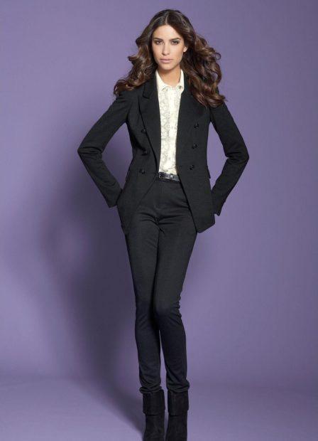 модные луки весна 2019 костюм брючный черный