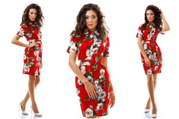 модные луки весна 2019 платье красное в цветы короткое